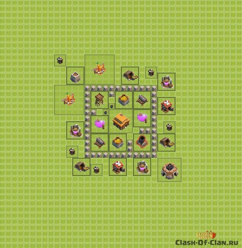 надежна розстановка для игри clesh of clans 3 ратуша